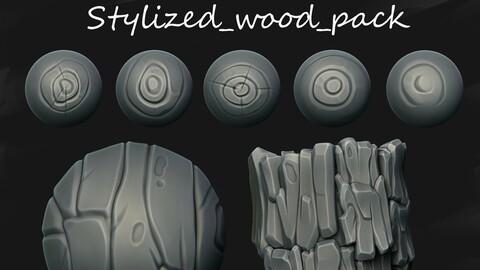 Stylized wood brushes pack