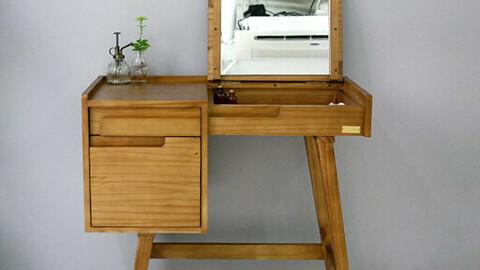 Scandinavian wood storage mirror vanity