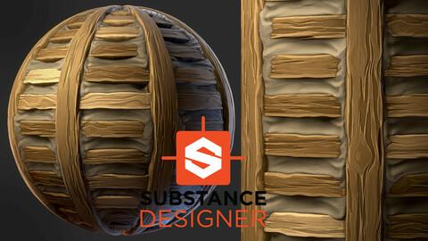 Stylized Wood Lath Planks - Substance Designer