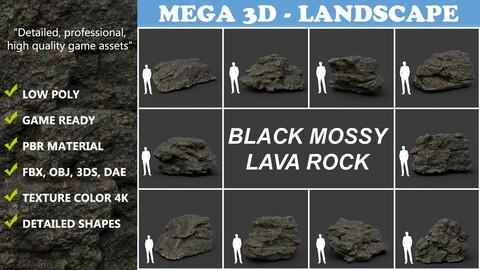 Low poly Black Mossy Lava Modular Rock 210720