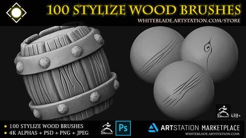 100 Stylize Wood Brushes and 4K Alphas - ZBrush 4R8+