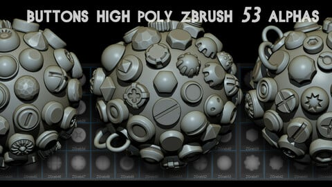 Buttons high poly Zbrush   53  Alphas