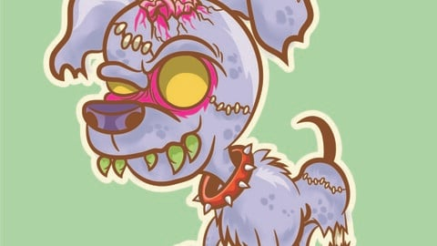 Funny zombie pinscher dog vector drawing.