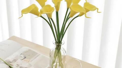 kara artificial flower (10P) marigold vase set