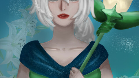 Fanart of white lily cookie from cookie run kingdom in semi realistic style
