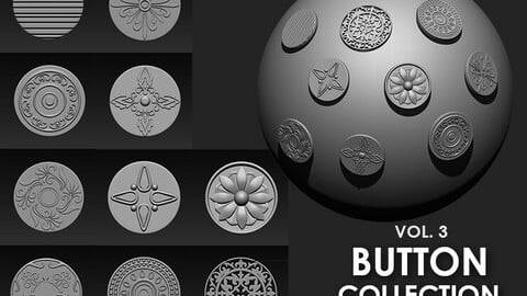Buttons Collection IMM Brush Pack (10 in One) VOL. 3