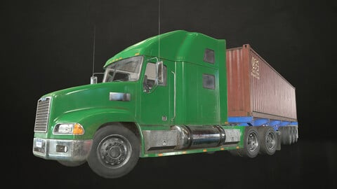 Semi Truck Container Trailer - Low Poly