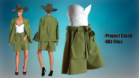 Set of Shorts Bermudi, Korset, Jacket, Hat