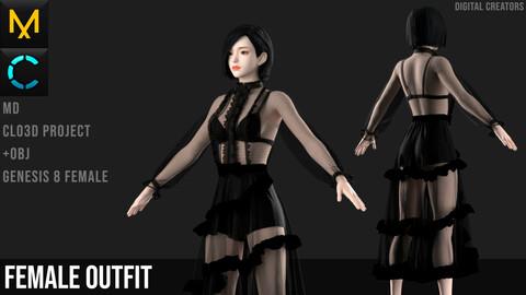 Female Outfit. Dress #2. Marvelous Designer / Clo 3D project +obj
