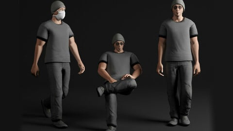 George, Low poly character 01