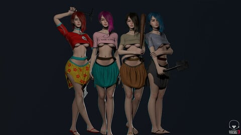 Survivor Girl 1 Low Poly Game Ready