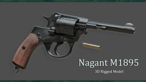 Nagant M1895 - Rigged 3D Model