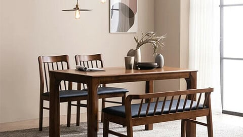 Barrent rubber wood dining table set