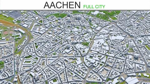 Aachen city Germany 3d model 30km