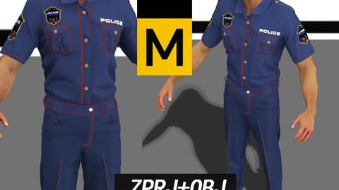 Police uniform Marvelous designer project policeman officer pants shirt character combat suit