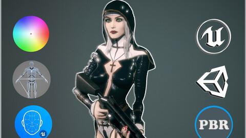 Woman Nun Game Ready Low-poly 3D model Low-poly 3D model