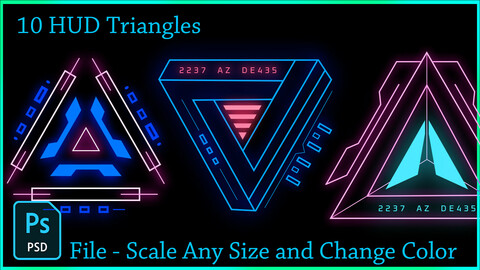 10 HUD Triangles Futuristic