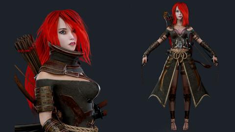 Samurai Ninja Girl Game ready model