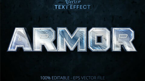 Armor editable text effect, shiny silver color and metallic font style