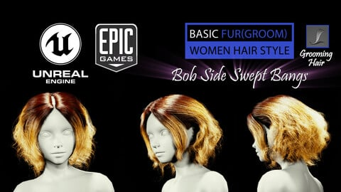 Bob Side Swept Bangs Grooming Real-Time Hairstyle Unreal Engine 4