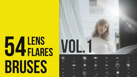 54 Lens Flares Brushes for Photoshop  Vol-1