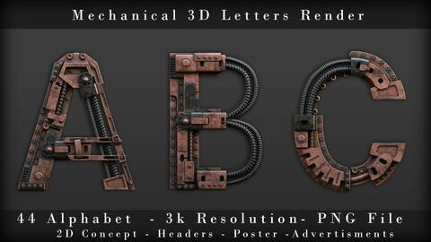 Mechanical 3D Letters Alphabet