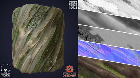 Wet Mossy Rock | SBSAR | PNG | 4K | Seamless | 2 Variations
