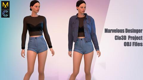 Denim suit , Marvelous Desinger/Clo3D Project+OBJ File