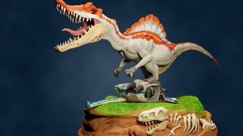 Spinosaurus Miniature 3D Print and Also Textures Available (2 Versions)