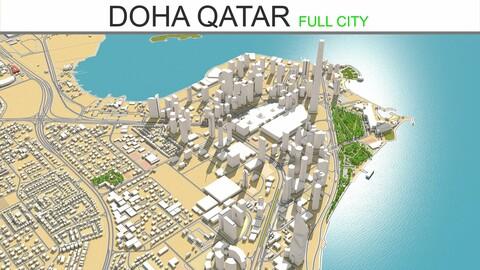Doha city Qatar 3d model 50km