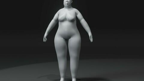 Female Body Fat Base Mesh 3D Model 10k Polygons