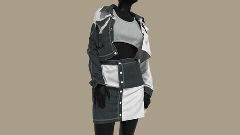 Female Denim skirt . Clo3D , Marvelous Designer