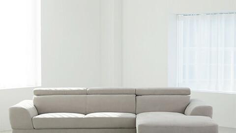 Aqua Fabric Lone Couch 4 Seater Sofa