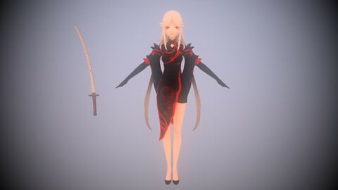 DragonGirl - LowPoly Game Ready Character