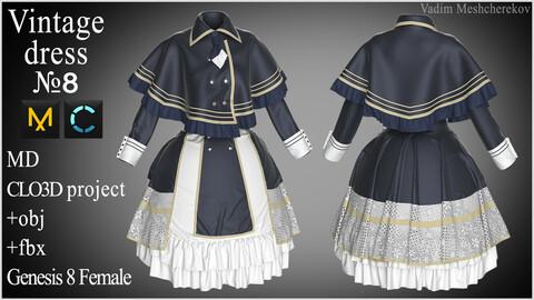 Vintage Dress №8. Clo 3D / Marvelous Designer project +obj/fbx