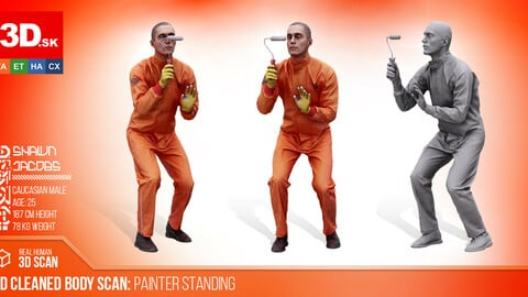 Cleaned 3D Body Scan Painter Standing