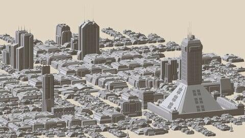 Sci-Fi Futuristic City 2 - CyberPunk, Retrofuturistic Buildings and Skycrapers