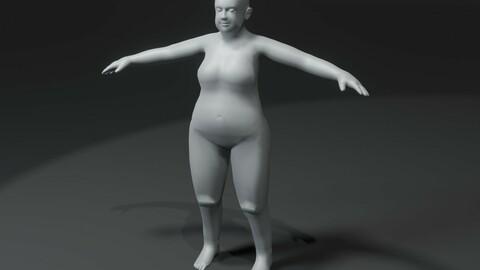 Fat Girl Kid Body Base Mesh 3D Model 10k Polygons