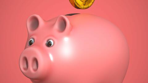 Piggy bank Realtime PBR model - pig with golden coins