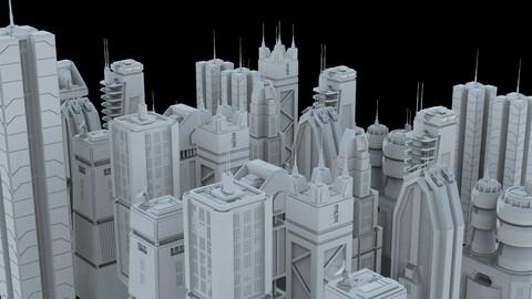 Sci-Fi Skycrapers Kit 1 - Futuristic CyberPunk Buildings