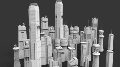 Sci-Fi Skycrapers Kit 2 - Futuristic Cyberpunk Buildings
