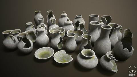 Mossy stone vases pack