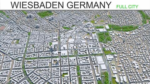 Wiesbaden city Germany 3d model 50km