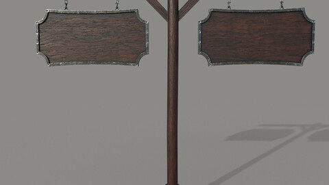 2 Wooden PBR Signboards