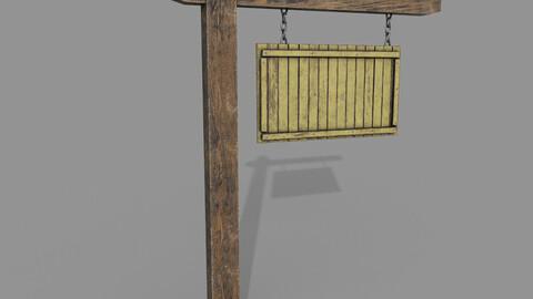 Wooden Yellow Signpost