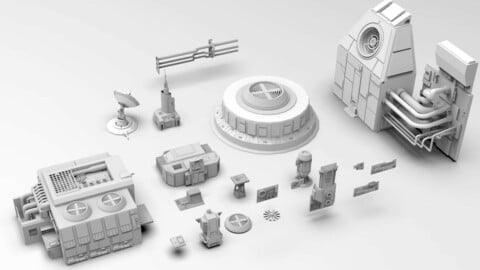 Sci-fi Industrial Parts Kitbash - Wall Panels, Computers and Machines Engines