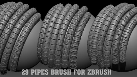 29 Pipes Brush for Zbrush