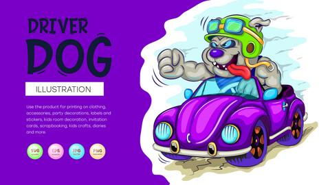 Cartoon dog driver