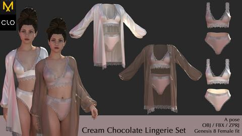 Cream Chocolate Lingerie Set | Marvelous Designer / CLO3D