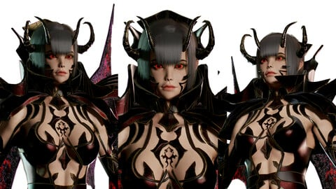 Succubus Female Game Ready Low-poly 3D model